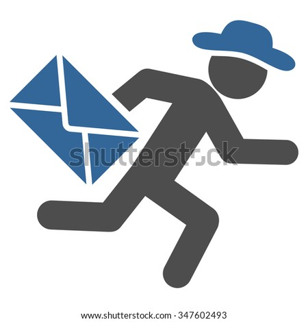 Person Mail Courier vector icon. Style is bicolor flat symbol, cobalt and gray colors, rounded angles, white background. - stock vector
