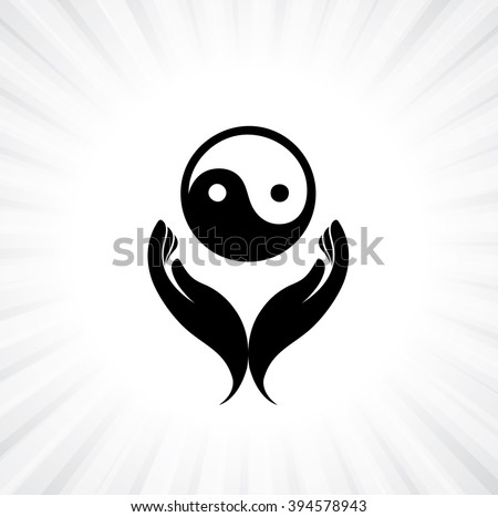 Person praying with yin yang symbol in hand - concept of a devout buddhist worshiping - stock vector