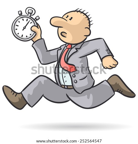 person runs with stopwatch - stock vector