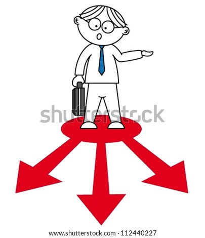 person standing on red arrows - stock vector