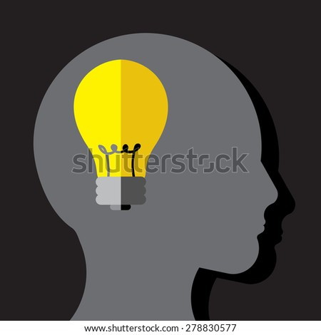 Person thinks and gets an idea - stock vector