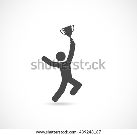 person winning trophy cup icon - stock vector