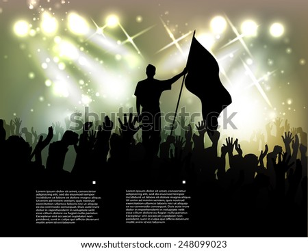 person with a flag among active public against searchlights - stock vector