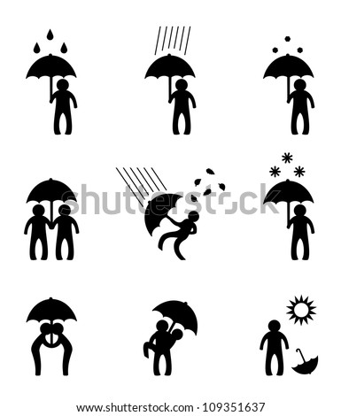 Person with umbrella in various situations - stock vector