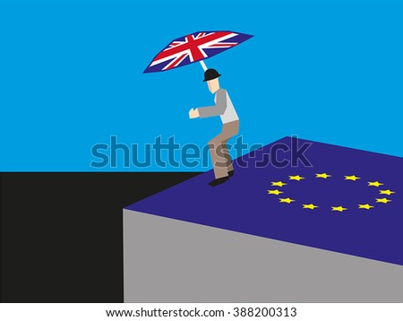 Person with umbrella with the Union Jack on it is preparing to jump from a cube with the european symbol on it; a sign for the imminent exit of England out of the European Union.  - stock vector
