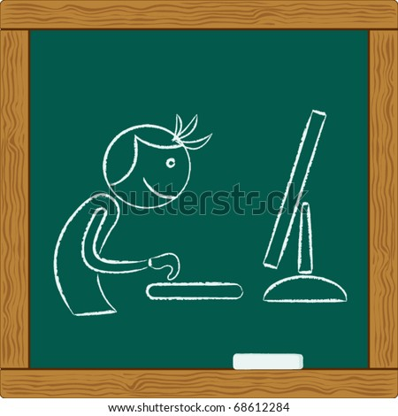 person working on computer - stock vector