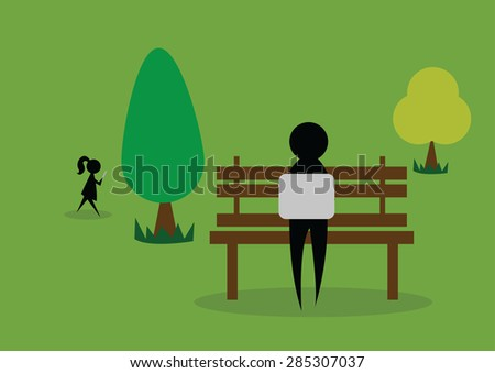 Person working on laptop on bench in park. Vector Illustration - stock vector