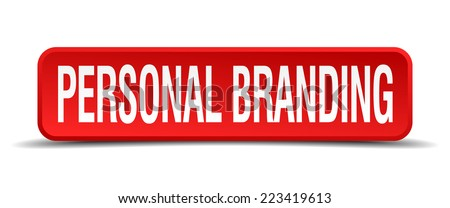 personal branding red 3d square button isolated on white - stock vector