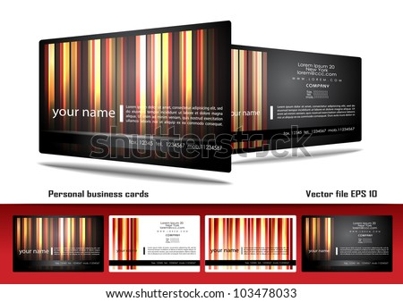 Personal business cards - stock vector
