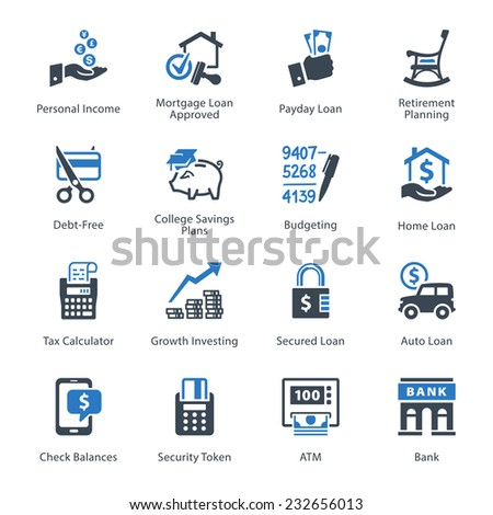 Personal & Business Finance Icons Set 2 - Blue Series   - stock vector
