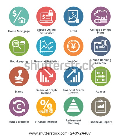 Personal & Business Finance Icons Set 3 - Dot Series  - stock vector