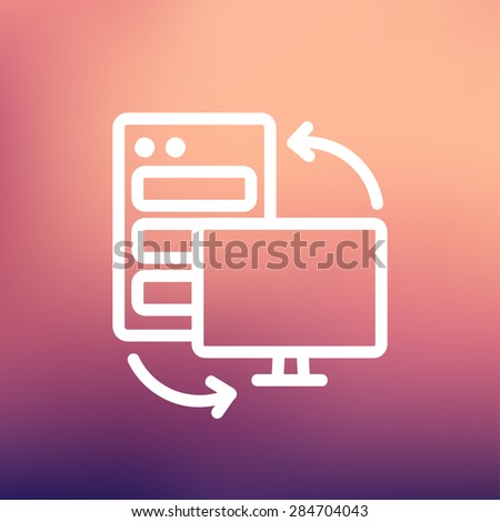 Personal computer set. CPU Central processing unit icon thin line for web and mobile, modern minimalistic flat design. Vector white icon on gradient mesh background. - stock vector