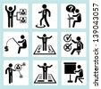 personal development icons, business management and organization icons set - stock vector