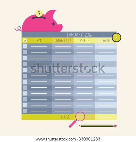 Personal finance / financial analysis. Budget planning concept. Can be used for control finance application, budget worksheet, vector organizer - stock vector