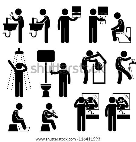 bath brushing teeth toilet bathroom stick figure pictogram icon