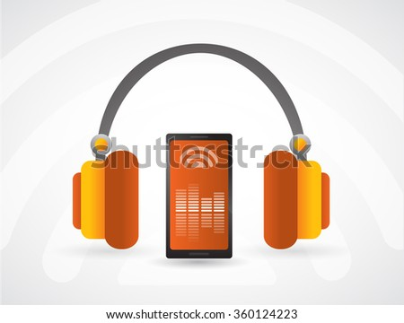 Personal music player. Music, sound, cell, mobile, phone, device, vector draw, equalizer,  - stock vector