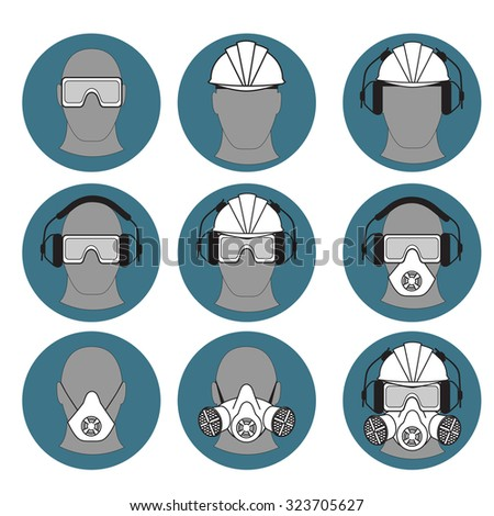personal protective equipment set icons   - stock vector