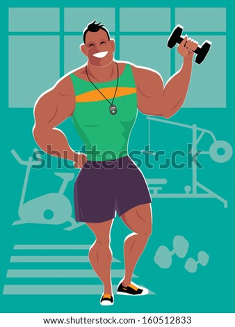 Personal trainer in a gym, vector cartoon - stock vector