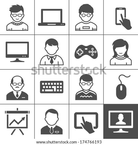 Personal user devices and users. Vector illustration. Simplus series - stock vector