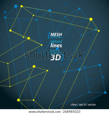 Perspective arrow, construction figure isolated on dark background, 3D wireframe spatial clear eps 8 vector illustration, direction symbol. - stock vector