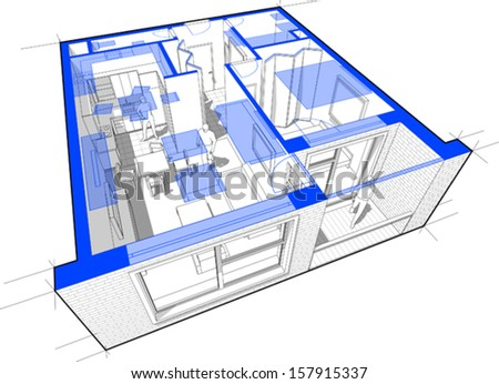 Perspective cut-away diagram of a 1-bedroom apartment, completely furnished + blue floorplan above - stock vector