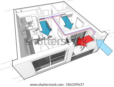Perspective cut-away diagram of a 1-bedroom apartment, completely furnished with 2x indoor wall air conditoner and external unit situtead on the balcony/loggia - stock vector