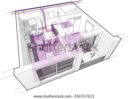 Perspective cutaway diagram of a one bedroom apartment completely furnished with hot water underfloor heating and central heating pipes as source of heating energy - stock vector