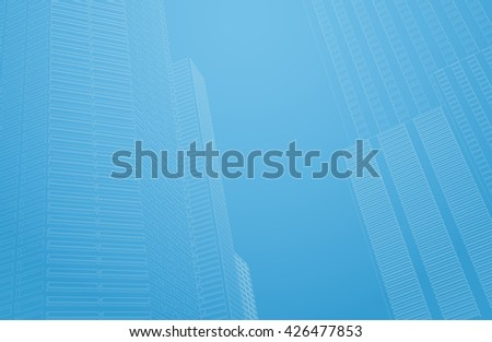 Perspective 3d architecture background with wireframe skyscrapers. Vector illustration. - stock vector