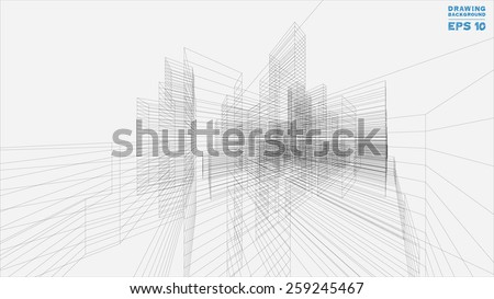 Perspective 3D render of building wireframe. Vector blueprint background. - stock vector