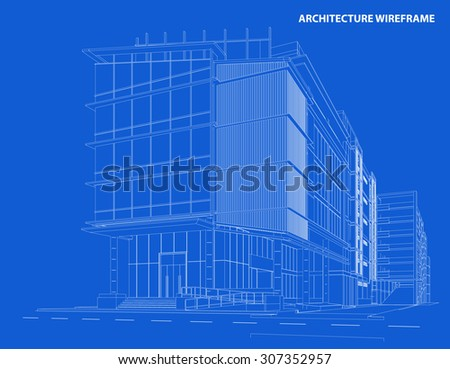 Perspective 3D render of building wireframe - Vector illustration - stock vector