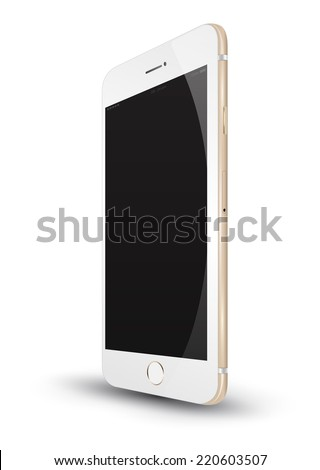 Perspective smartphone vector realistic. Can use for printing, website, presentation element and application mockup. for app demo on phone. - stock vector