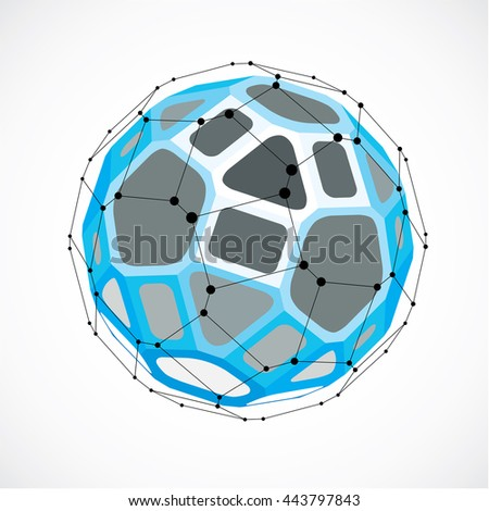 Perspective technology shape with black lines and dots connected, polygonal wireframe object. Abstract blue faceted element for use as design structure on communication technology theme - stock vector