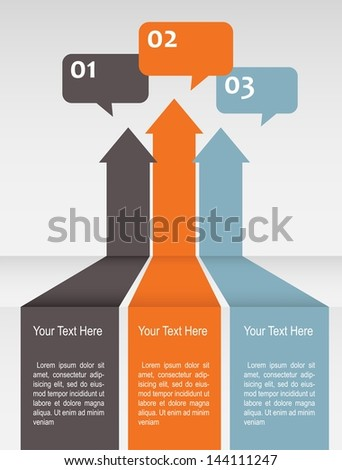Perspective Vector Layout Design of arrows and speech bubbles - stock vector