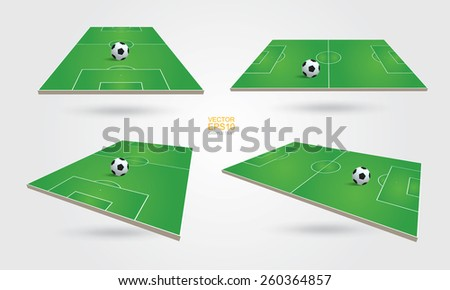 Perspective view of soccer field and soccer ball on white background. Vector illustration. - stock vector