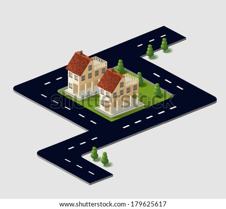 Perspective view of the village houses in the vector in the sky - stock vector