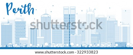 Perth skyline with blue buildings. Vector illustration. Business and tourism concept with skyscrapers. Image for presentation, banner, placard or web site - stock vector