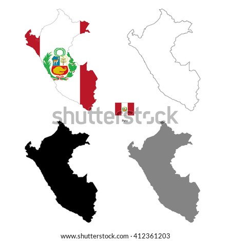 Peru country black silhouette and with flag on background, isolated on white - stock vector