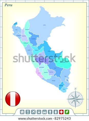 Peru Map with Flag Buttons and Assistance & Activates Icons Original Illustration - stock vector