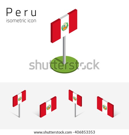 Peruvian flag (Republic of Peru), vector set of isometric flat icons, 3D style, different views. 100% editable design elements for banner, website, presentation, infographic, poster, map. Eps 10 - stock vector