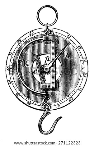 Peson and Roman dial, vintage engraved illustration. Industrial encyclopedia E.-O. Lami - 1875. - stock vector