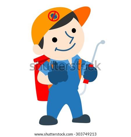 pest control service logo cartoon vector illustration - stock vector