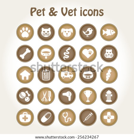 Pet and veterinary icon set - stock vector