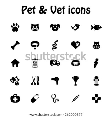Pet and veterinary icon set - Black icon set - stock vector