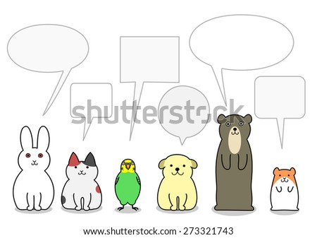pet animals in a row with speech bubbles - stock vector