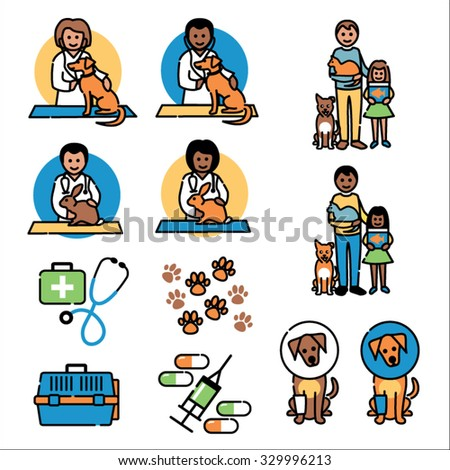 Pet animals, vet images - stock vector