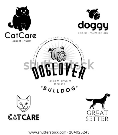 Pet Emblems Collection. Cat And Dog Icons Isolated On White Background. Editable Graphic Design Templates. Pets Logo  - stock vector
