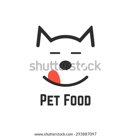 pet food logo with dog icon. concept of veterinary, visual identity, vet, dog forage, wildlife, pet store, feed. isolated on white background. flat style trend modern brand design vector illustration - stock vector
