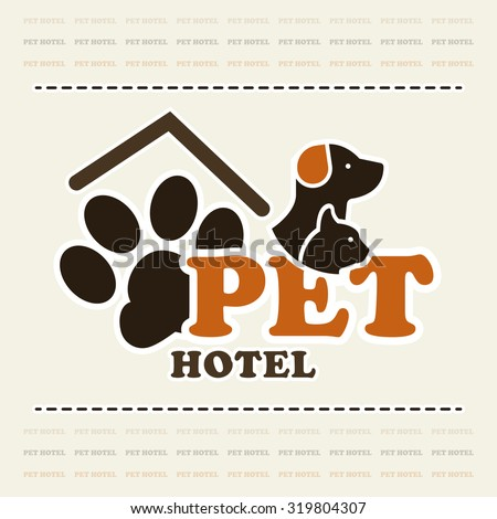 Pet hotel or pet club concept logo in beige and brown color art - stock vector