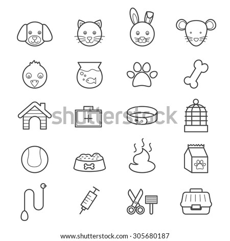 Pet Icons Line - stock vector