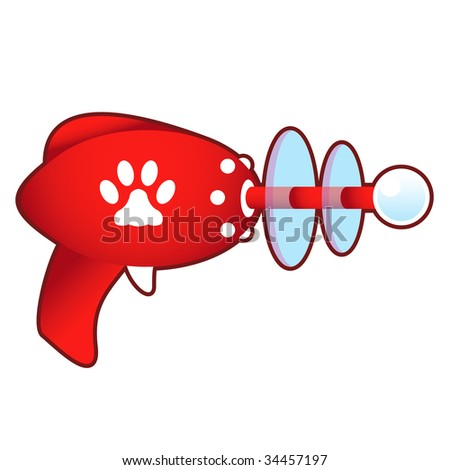 Pet paw print icon on laser raygun vector illustration in retro 1950's style. - stock vector